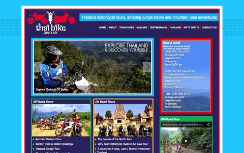 Screenshot of Home Page thaibiketours.co.uk - Motorcycle Adventure Tours Thailand - captured Oct. 6, 2014