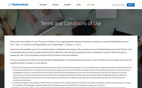 Screenshot of Terms Page pipelinedeals.com - Sales Tracking and Online CRM Terms and Conditions for PipelineDeals - captured Sept. 18, 2014