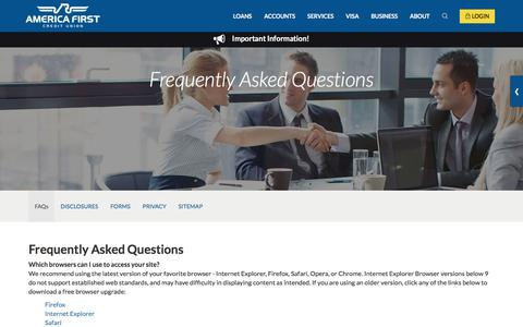 Screenshot of FAQ Page americafirst.com - Frequently Asked Questions- America First Credit Union - captured Nov. 25, 2015