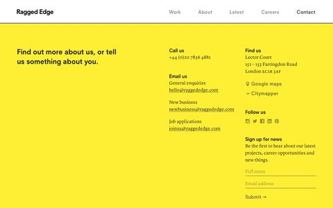 Screenshot of Contact Page raggededge.com - Contact – Ragged Edge – London branding agency - captured June 18, 2017