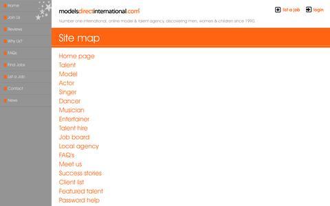 Screenshot of Site Map Page talentmanagement.com - Site map - captured Sept. 11, 2016
