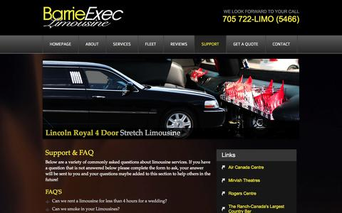 Screenshot of Support Page barrieexeclimo.com - Limousine Questions? | Barrie Executive Limousine - captured Oct. 5, 2014