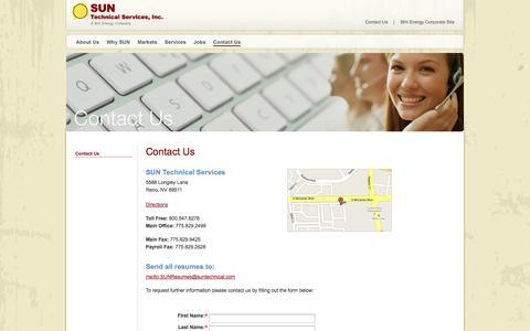 Screenshot of Contact Page suntechnical.com - Contact Us – SUN Technical - captured Oct. 3, 2014