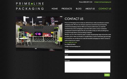 Screenshot of Contact Page primelinepkg.com - Contact Us | Customized Bags | Prime Line Packaging - captured Jan. 31, 2016