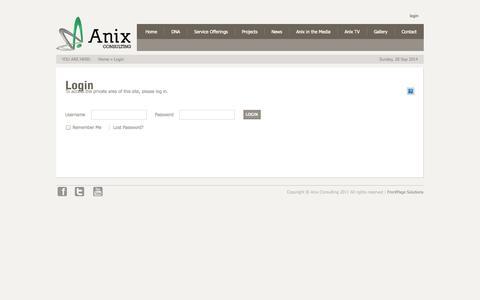 Screenshot of Login Page anixconsulting.com - Login - captured Sept. 30, 2014