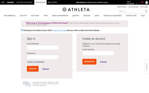 Screenshot of Login Page gap.com - Sign In | Athleta - captured Feb. 1, 2019