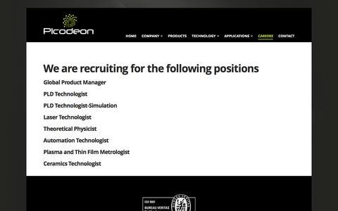 Screenshot of Jobs Page picodeon.com - Careers - Picodeon - captured Nov. 6, 2016