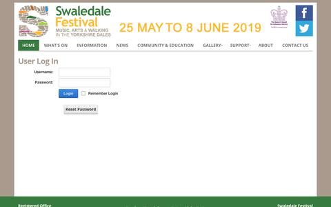 Screenshot of Login Page swaledale-festival.org.uk - User Log In - captured Sept. 21, 2018