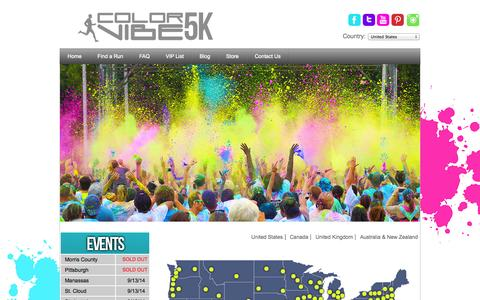 Screenshot of Home Page thecolorvibe.com - Color Vibe 5K Run - captured Sept. 18, 2014