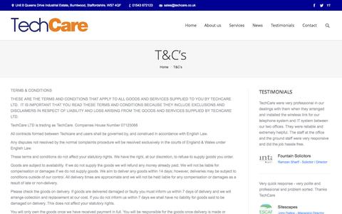 Screenshot of Terms Page techcare.co.uk - TechCare     T&C's - captured Nov. 5, 2014