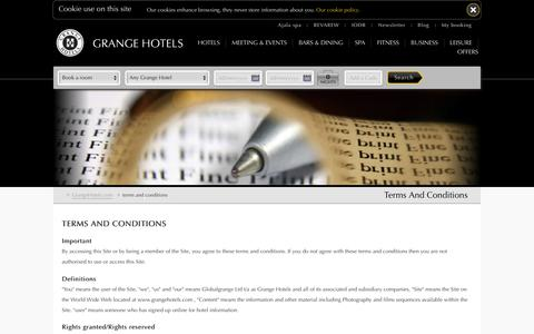 Booking Terms and Conditions - Grange Hotels in London - Luxury Hotels