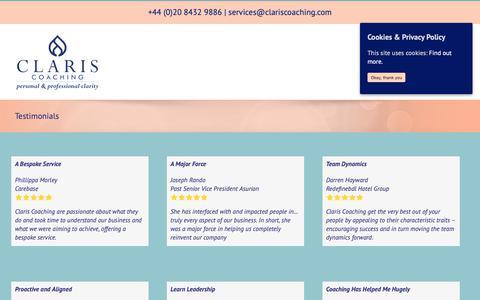 Screenshot of Testimonials Page clariscoaching.com - Testimonials - Claris Coaching - captured Oct. 20, 2018