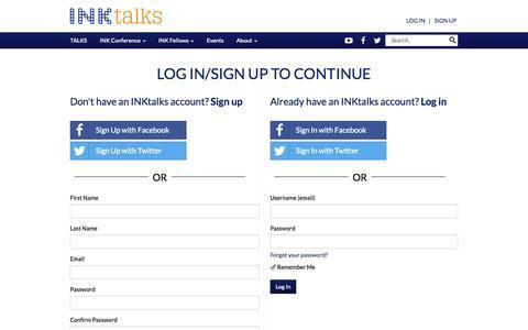 Screenshot of Login Page inktalks.com - Innovational Talks | Inspirational Talks & Videos | Motivational Speakers - The INK Conference - The INK Conference - captured Nov. 5, 2014