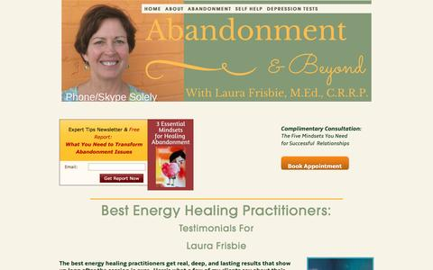 Screenshot of Testimonials Page laurafrisbie.com - Best Energy Healing Practitioners: Laura Frisbie for Relationship Self Help - captured May 29, 2017