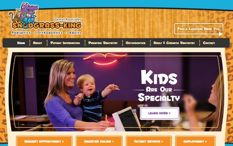 Screenshot of Home Page snodgrassking.com - Snodgrass King Pediatric Dentist • Family Dentists - captured Oct. 6, 2014