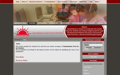 Screenshot of Press Page samarthanam.org - Media   Samarthanam Trust for the Disabled - captured Oct. 4, 2014