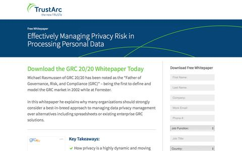 Screenshot of Landing Page trustarc.com - Effectively Managing Privacy Risk in Processing Personal Data - captured March 27, 2018