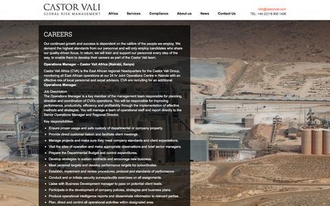 Screenshot of Jobs Page castorvali.com - Careers | Castor Vali - Global Risk Management - captured May 15, 2017