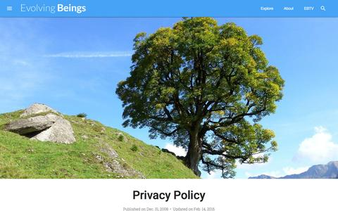 Screenshot of Privacy Page evolvingbeings.com - Privacy Policy / Evolving Beings - captured March 4, 2016