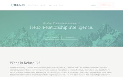Screenshot of Home Page relateiq.com - RelateIQ - Relationship Intelligence - captured July 11, 2014