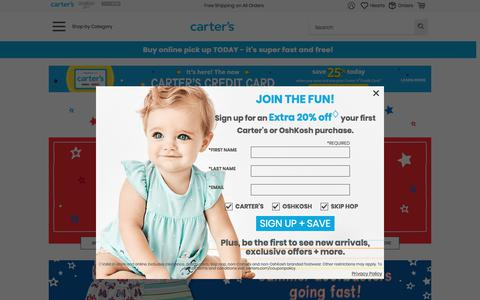 Screenshot of Home Page carters.com - Baby Clothing, Kids Clothes, Toddler Clothes   Carter's - captured July 1, 2019