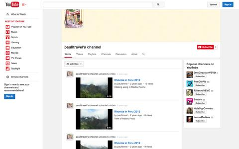 Screenshot of YouTube Page youtube.com - paulltravel's channel  - YouTube - captured Oct. 22, 2014