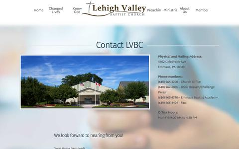 Screenshot of Contact Page lvbaptist.org - Contact LVBC - Lehigh Valley Baptist Church - captured Aug. 1, 2017