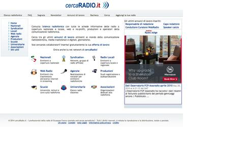 Screenshot of Home Page cercaradio.it - cercaRadio.it - I professionisti della radio - captured Oct. 3, 2014