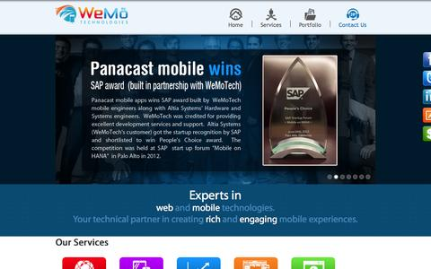 Screenshot of Home Page wemotech.com - Mobile App Development Company in San Francisco | Wemo Tech - captured Oct. 10, 2014