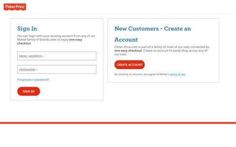 Screenshot of Login Page mattel.com - Sign In - captured Aug. 21, 2019