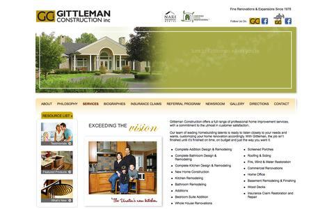 Screenshot of Services Page gittleman.net - Services | Gittleman Construction | Professional Home Improvement | Home Renovation - captured Oct. 2, 2014