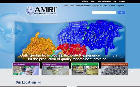 Screenshot of Home Page amriglobal.com - Albany Molecular Research Inc. (AMRI) | Drug Discovery, Development & Manufacturing - captured Oct. 3, 2014