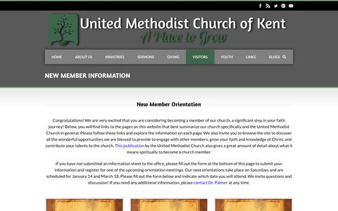 Screenshot of Signup Page kentmethodist.org - United Methodist Church of Kent  New Member Information | United Methodist Church of Kent - captured April 23, 2017