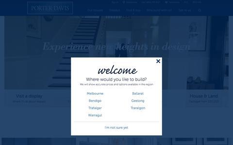 Screenshot of Home Page porterdavis.com.au - Porter Davis - House Designs & Home Builders | Melbourne & VIC - captured Oct. 26, 2015