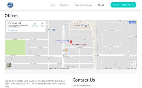 Screenshot of Contact Page pcit.com - Contact and mailing address information    PCIT - captured Nov. 27, 2017