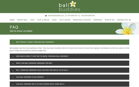 Screenshot of FAQ Page balibuddies.com - FAQ - Bali Buddies - captured Aug. 1, 2018