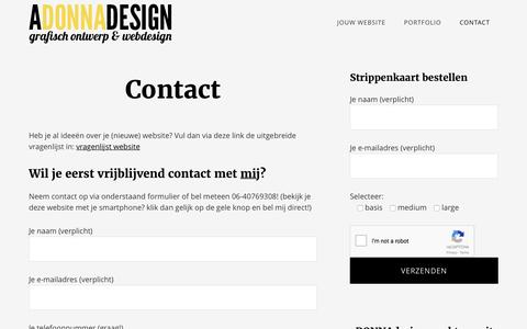 Screenshot of Contact Page adonnadesign.nl - Contact met aDONNAdesign - captured May 31, 2017