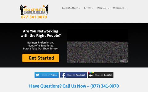 Screenshot of Contact Page paccchamber.com - The Pro Athlete Chamber of Commerce (PACC) - captured Oct. 8, 2014