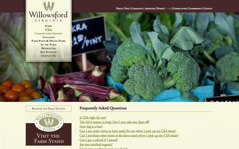Screenshot of FAQ Page willowsford.com - Willowsford Virginia - Frequently Asked Questions - captured Oct. 26, 2014