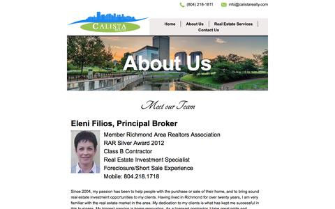 Screenshot of About Page calistarealty.com - Calista Realty - About Us - captured Sept. 26, 2018