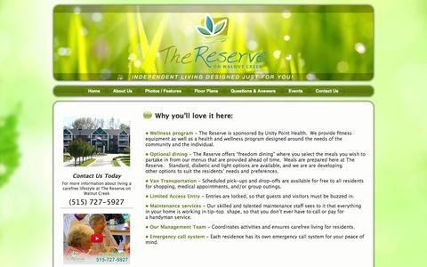 Screenshot of Services Page reserveonwalnutcreek.com - Why you'll love it here: | Reserve on Walnut Creek - captured Oct. 1, 2014
