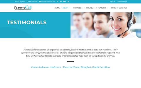 Screenshot of Testimonials Page funeralcall.com - Testimonials | FuneralCall | Best Answering Service in Georgia! - captured Nov. 14, 2018