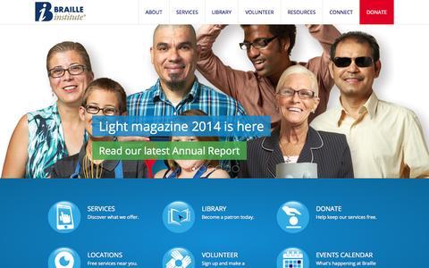 Screenshot of Home Page brailleinstitute.org - Braille Institute - captured Oct. 5, 2014