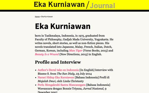 Screenshot of About Page ekakurniawan.com - Eka Kurniawan | Eka Kurniawan - captured Sept. 28, 2015