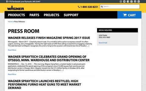 Screenshot of Press Page wagnerspraytech.com - Press Room   Wagner SprayTech - captured July 2, 2017