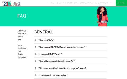Screenshot of FAQ Page kidbox.com - FAQ | Kidbox - captured July 11, 2019