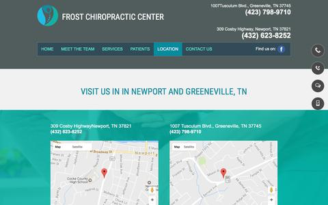 Screenshot of Locations Page frostchiropractic.net - Pain Management  Newport TN   Frost Chiropractic Centers - captured April 22, 2017