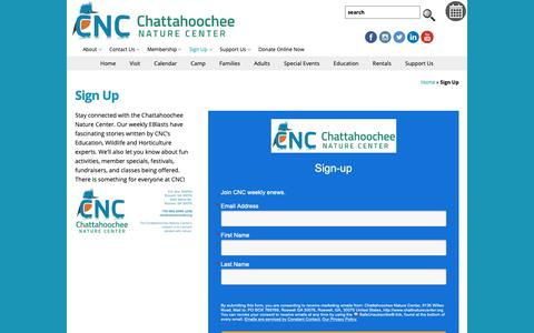 Screenshot of Signup Page chattnaturecenter.org - Sign Up - Chattahoochee Nature Center  : Chattahoochee Nature Center - captured Nov. 10, 2018