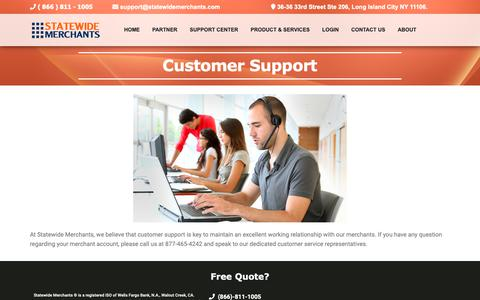 Screenshot of Support Page statewidemerchants.com - Customer Support – Merchant Services NY, Credit Card Processing NYC, Merchant Accounts, Accept Credit Cards – Statewide Merchants - captured Oct. 20, 2018