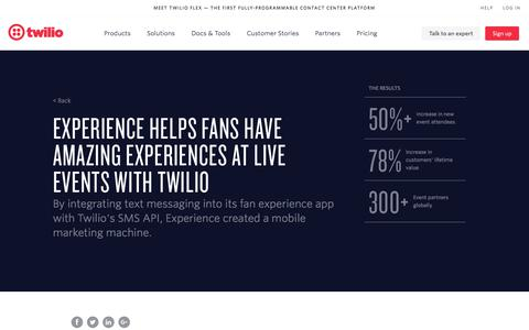Screenshot of Services Page twilio.com - Experience helps fans have amazing experiences at live events with Twilio   Twilio Customer Stories - captured Nov. 28, 2019